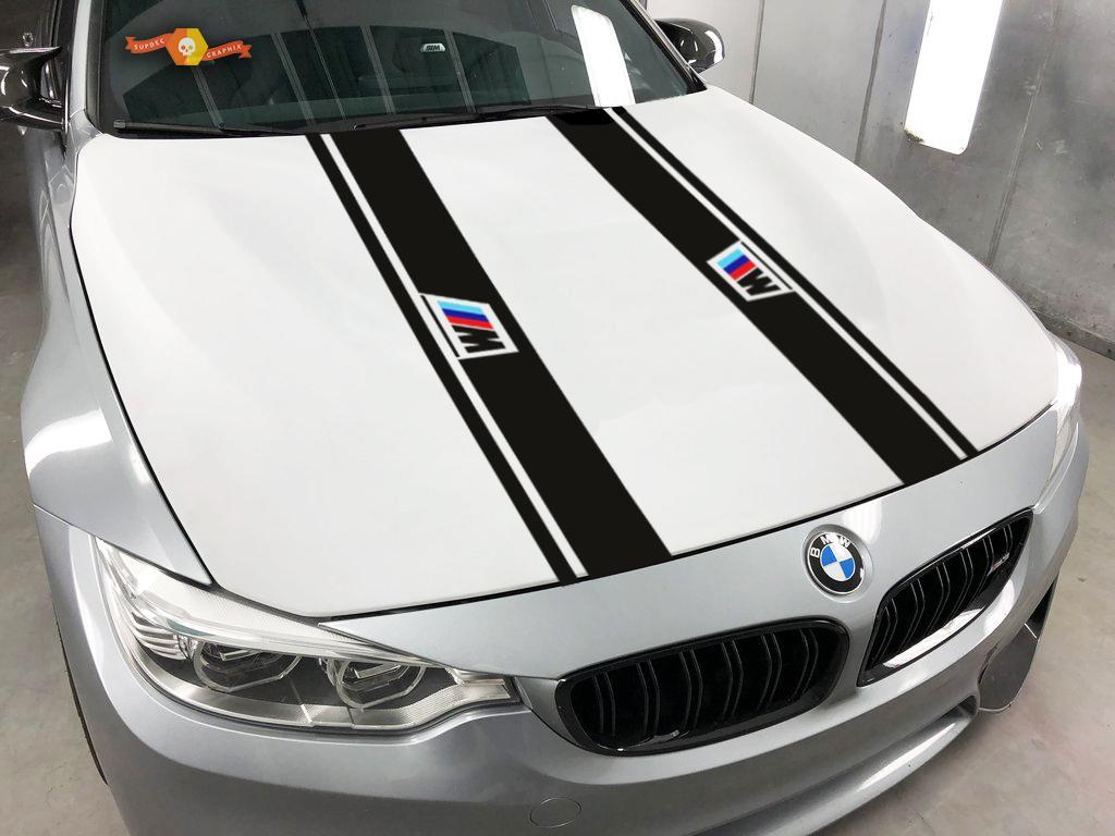 BMW 2x Haubenstreifen Vinyl Aufkleber Aufkleber Logo Bmw MPower 1 3 5 7 Serie x4 x5 x6