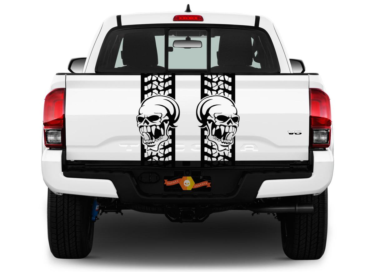 Rear bed skull truck decals stripes band vinyl graphics stickers gmc chevy chevrolet ford toyota