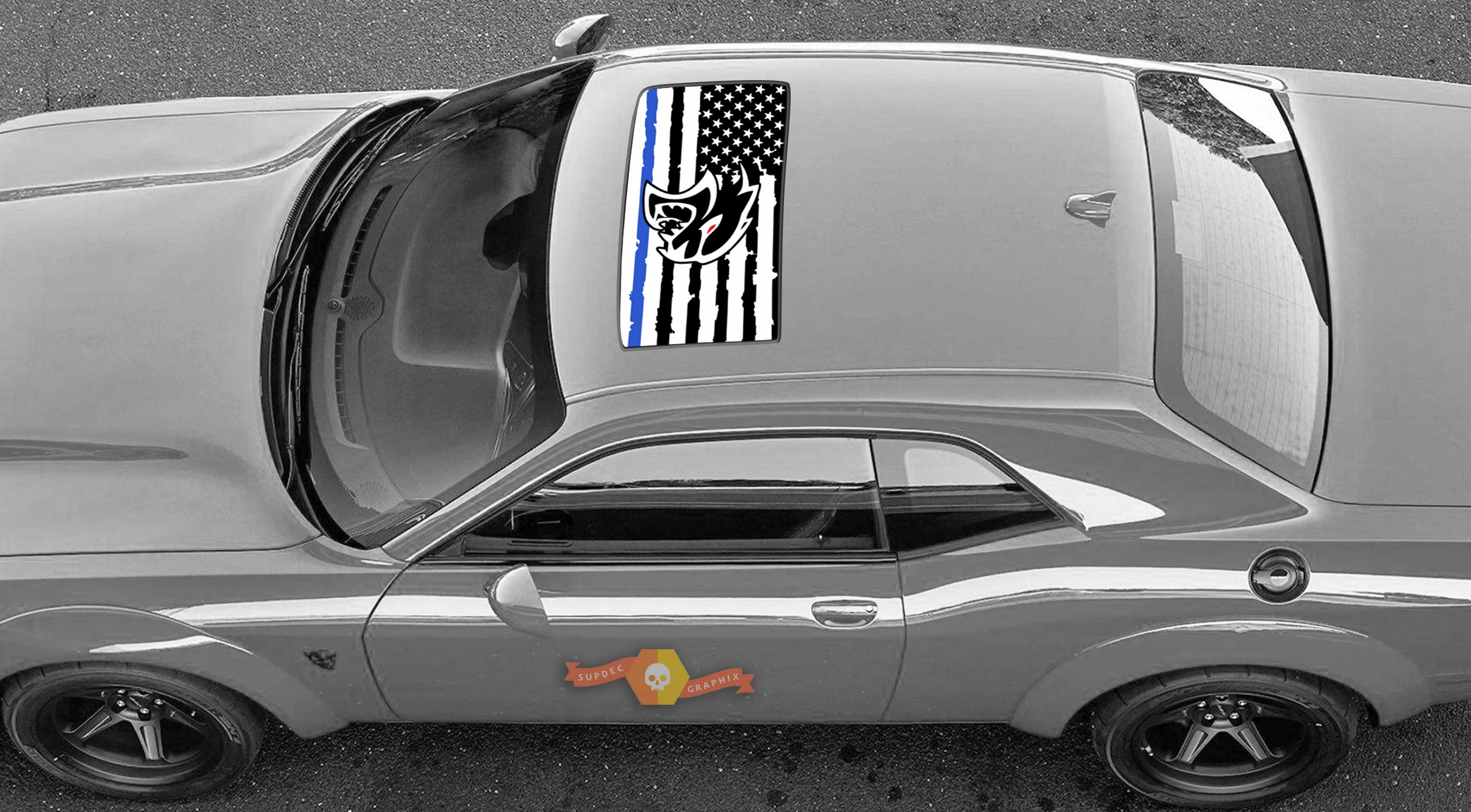 2 Dodge Challenger Window Sunroof US flag Hellcat blue line Vinyl Windshield Decal Graphic Stickers