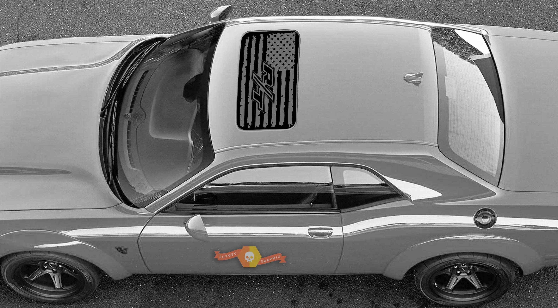 2 Dodge Challenger Fenster Schiebedach R / T Flagge Vinyl Windschutzscheibe Aufkleber Grafik Aufkleber