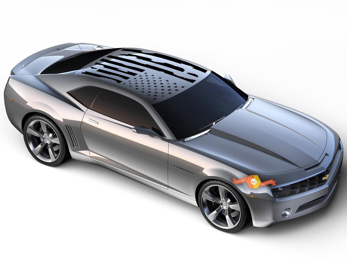 Camaro Distressed American Flag Dachplatte Vinyl Aufkleber Wählen Sie Farbe 2010-2018