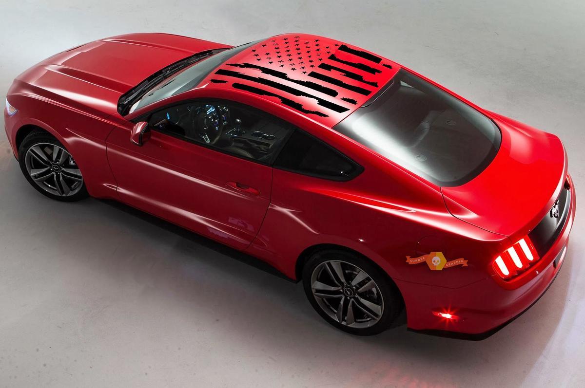 Ford 2010-2020 Mustang Distressed Flag Dachpaneel Aufkleber Wählen Sie Farbe