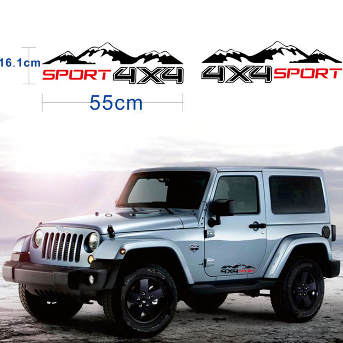 Graphic Vinyl 4X4 Mountain Car Decal Sticker For Truck SUV JEEP Pickup 2pcs