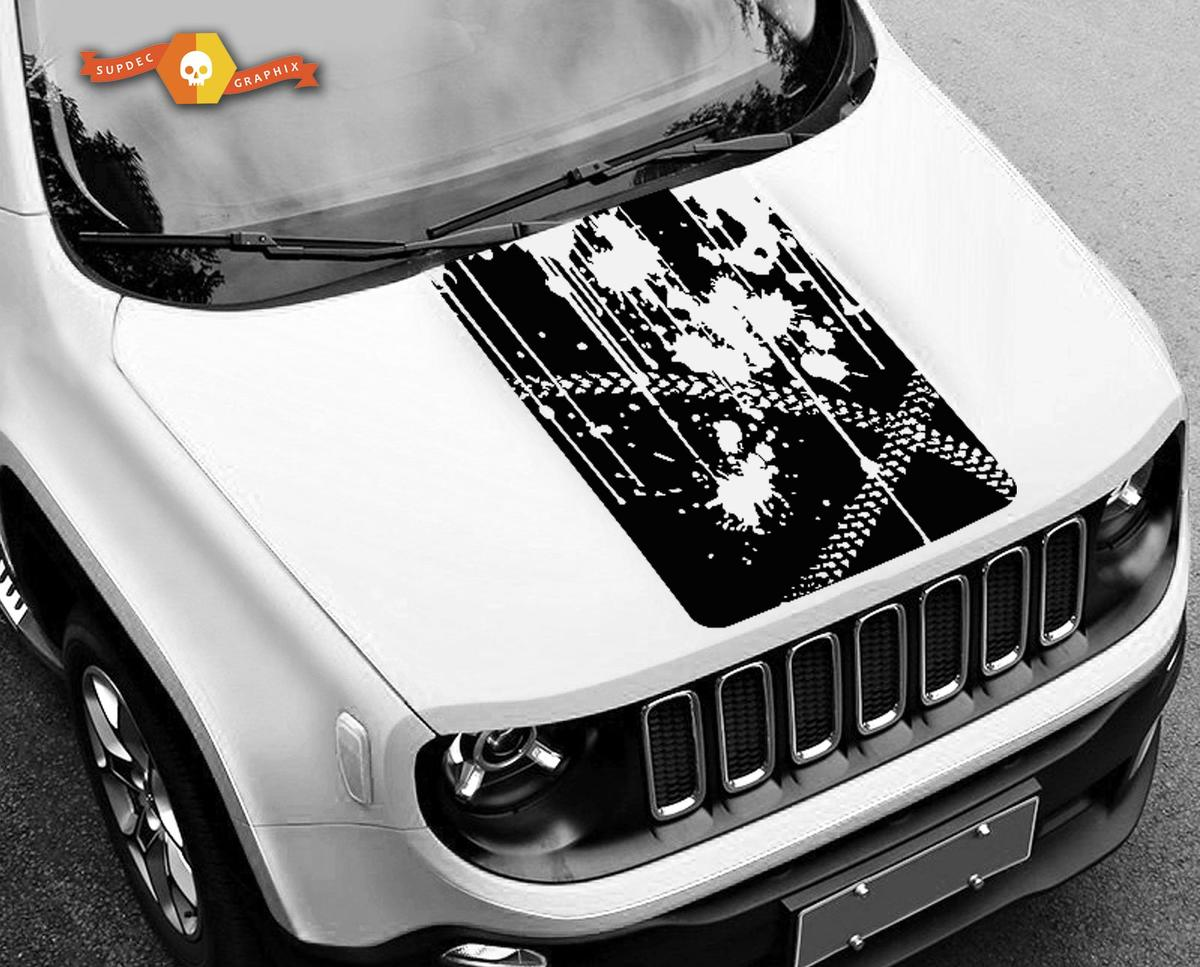 RENEGADE Decals for Jeep Hood Sides-Deep Red
