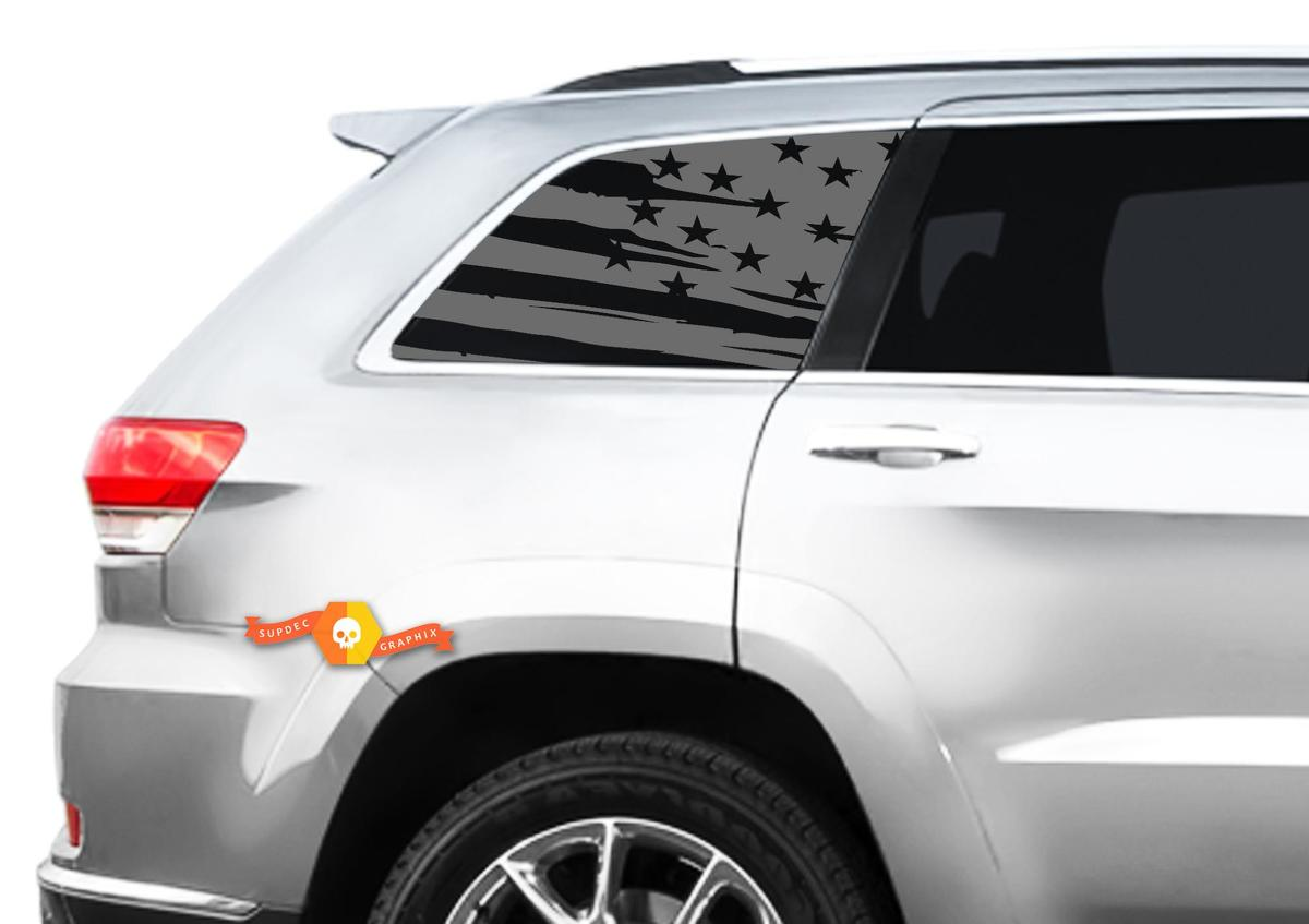 Flag Decal Set - Fits Jeep Grand Cherokee Laredo Side window USA American