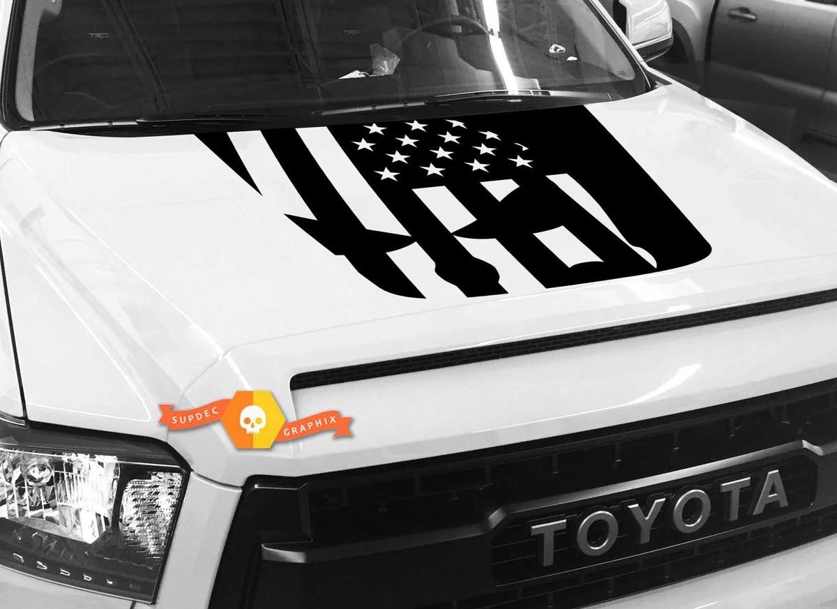 Hood USA Distressed Punisher Flag Grafik Aufkleber für TOYOTA TUNDRA 2014 2015 2016 2017 2018 2018 # 35