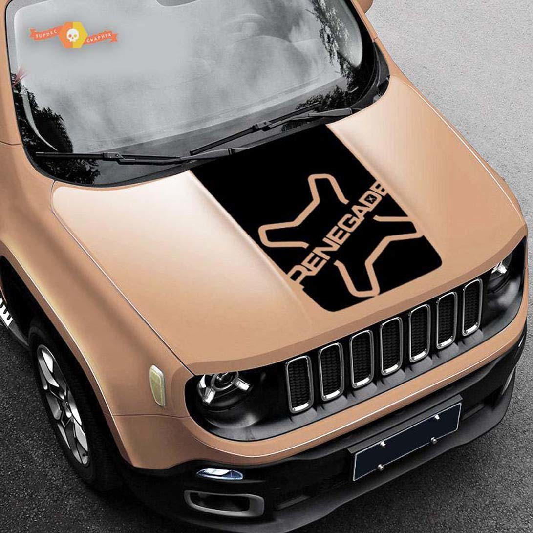 2014 2015 2016 2017 Jeep Cherokee Custom Vinyl Hood Decal Blackout Style 3