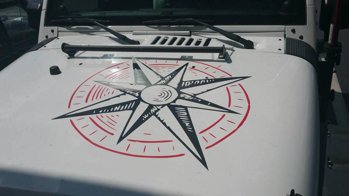 2 Farben Jeep Hood Aufkleber Kompass Aufkleber für alle Autos