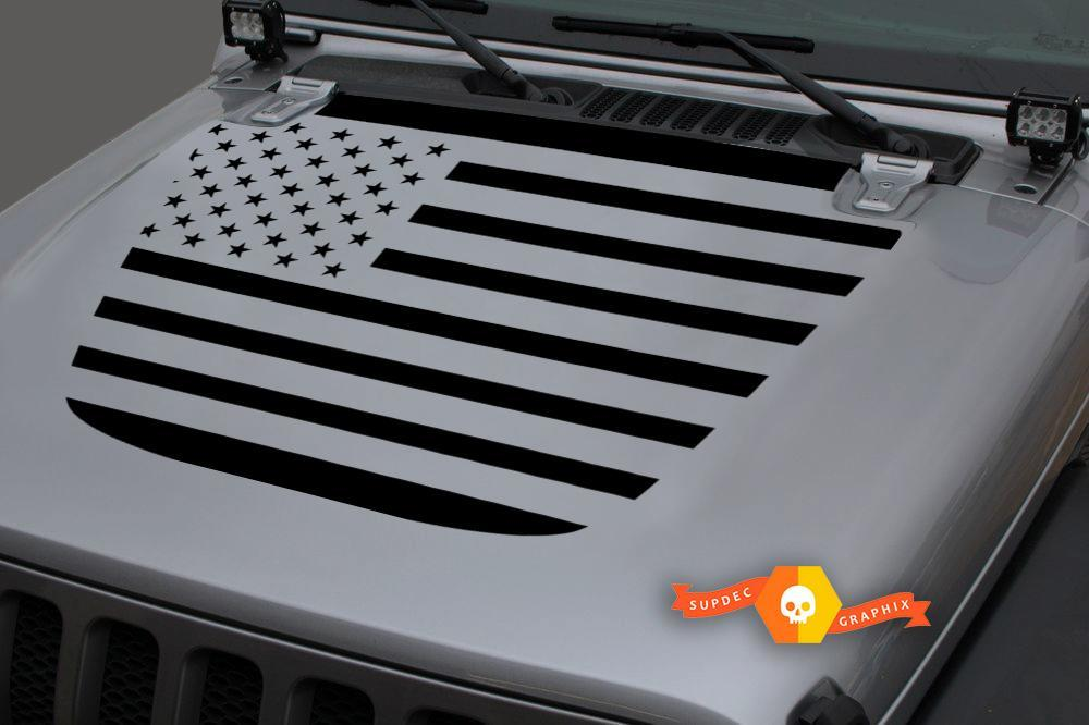 Jeep Hood Vinyl USA Flag Blackout Decal Sticker for 18-19 Wrangler JL#2