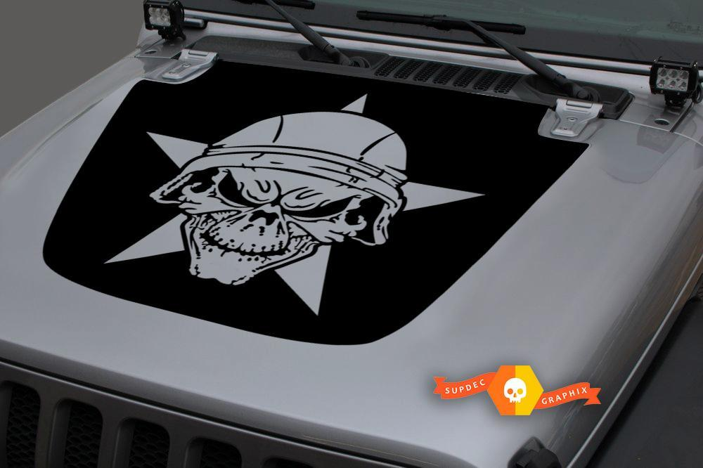 Jeep Hood Vinyl Military Star Skull Blackout Decal Sticker for 18-19 Wrangler JL#1
