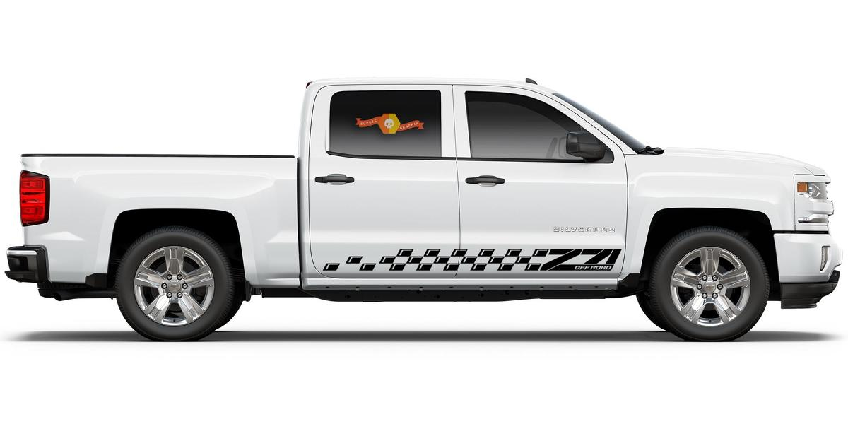 Chevrolet Silverado Z71 side stripes graphics decal door panel decal black vinyl