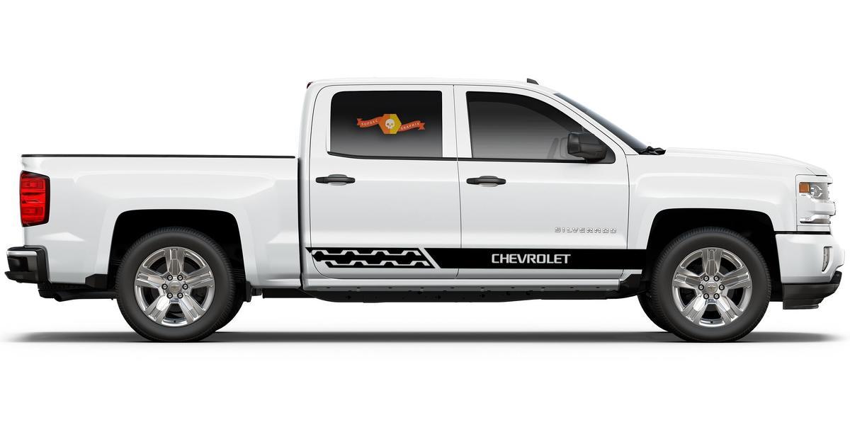 Chevrolet Silverado mk3 Seitenstreifen Grafik Aufkleber Türverkleidung Aufkleber schwarz Vinyl 1