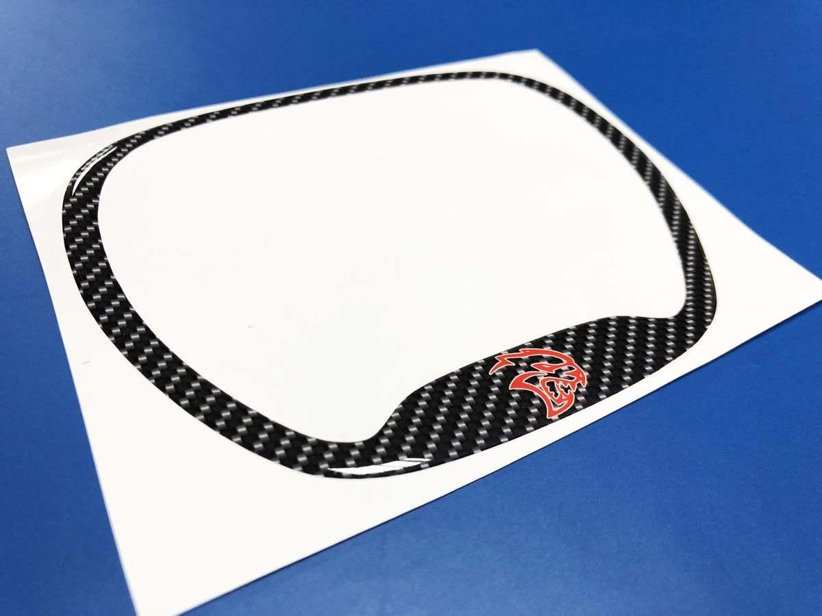 Lenkradverkleidung Ring Hellcat Red Carbon Faser gewölbter Aufkleber Dodge