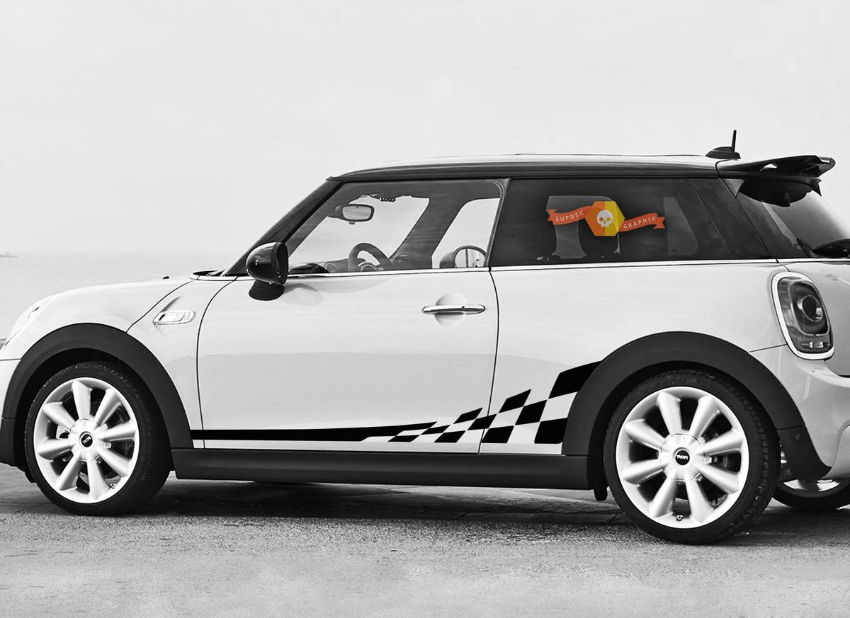 Mini Cooper F56 2014-2015 Zielflaggen Seitenstreifen Grafik Aufkleber