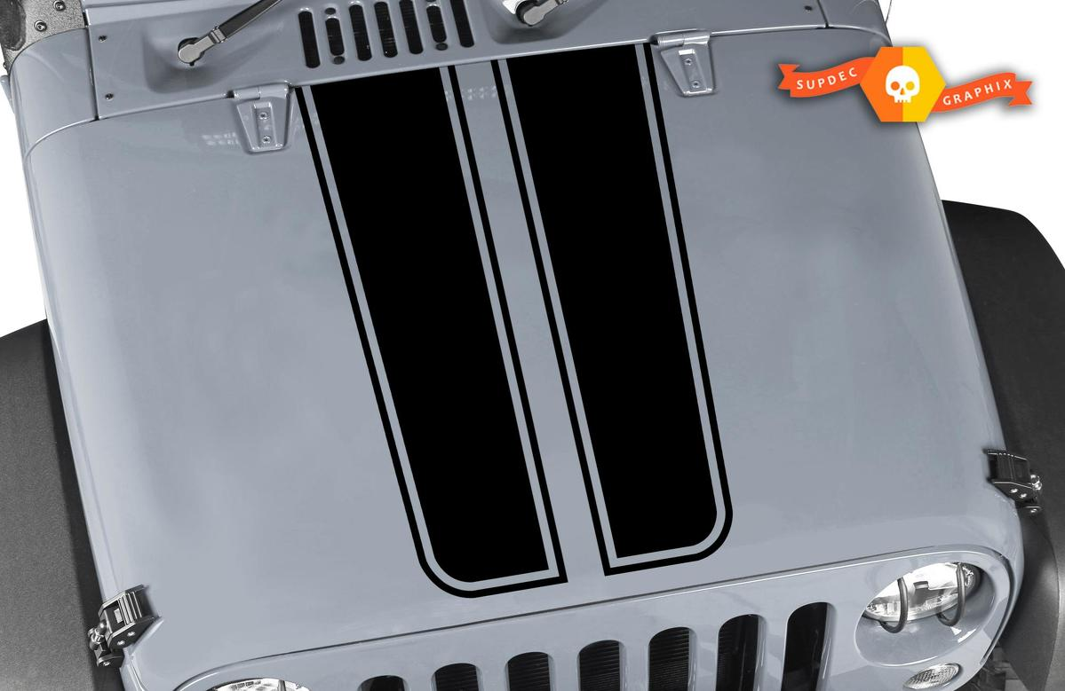 4x4 Sticker Decal Vinyl Hood Stripes for Jeep Wrangler 2011 - 2019 JK Rubicon