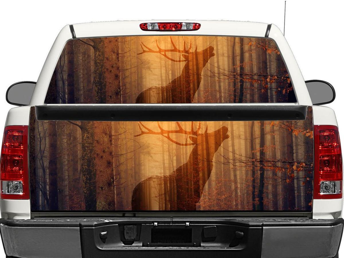 Hirsch im Wald Herbst Heckscheibe ODER Heckklappe Aufkleber Aufkleber Pick-up Truck SUV Auto