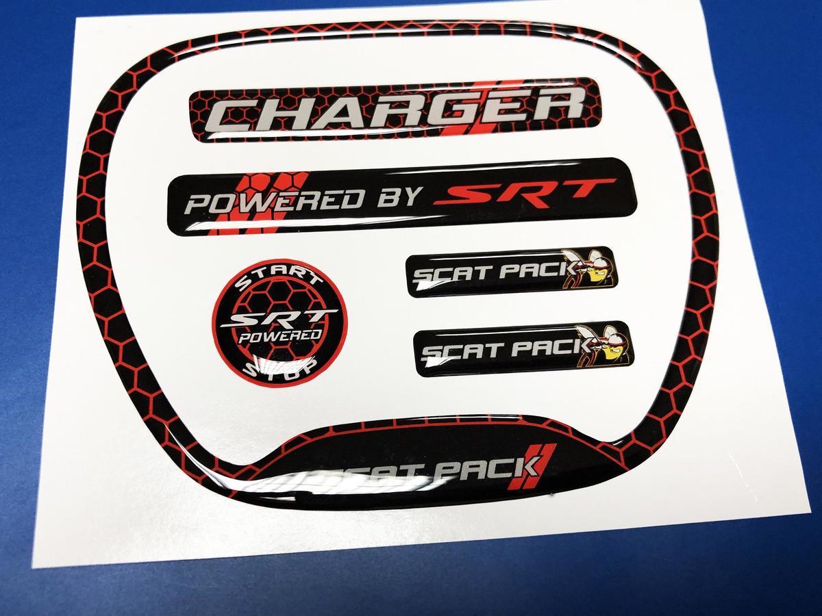 Set CHARGER HONEYCOMB Angetrieben von SRT Steering WHEEL TRIM RING Emblem Kuppel Aufkleber