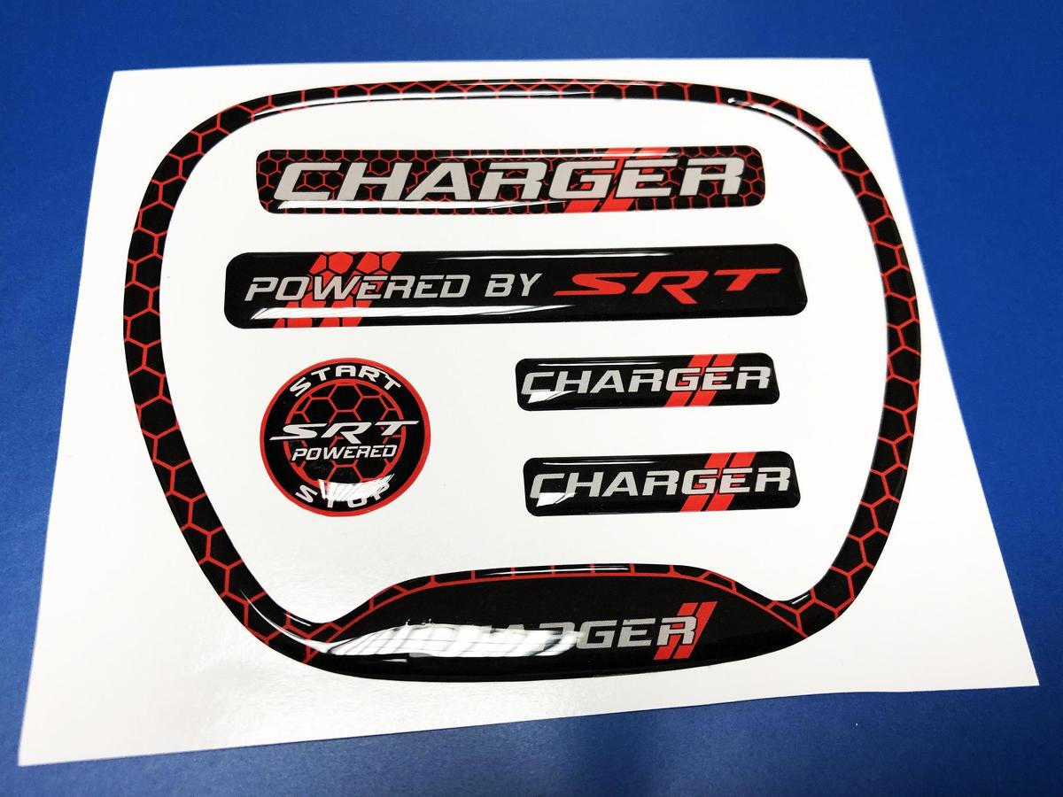 Set of CHARGER HONEYCOMB Powered by SRT Steering WHEEL TRIM RING emblem domed decal 2