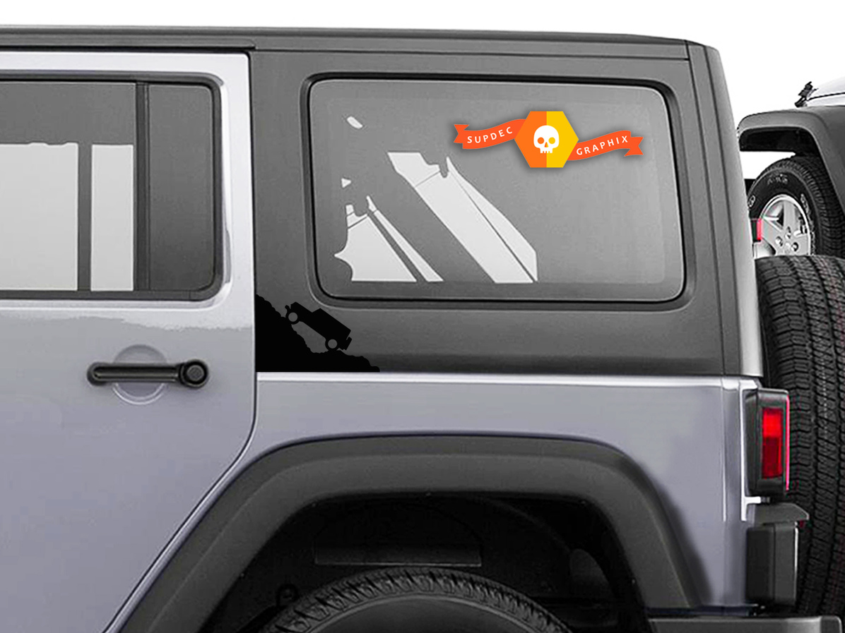 2 Jeep Climbing Mountain Decals For 2007-2018 Jeep Wrangler JK JL New