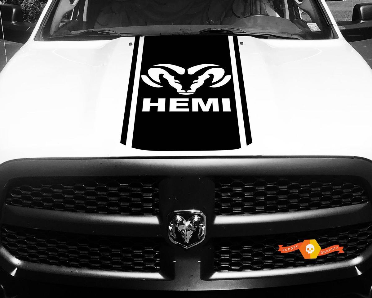 Dodge Ram 1500 2500 3500 Vinyl Rennstreifen RAM Hemi Hood Aufkleber Aufkleber # 12