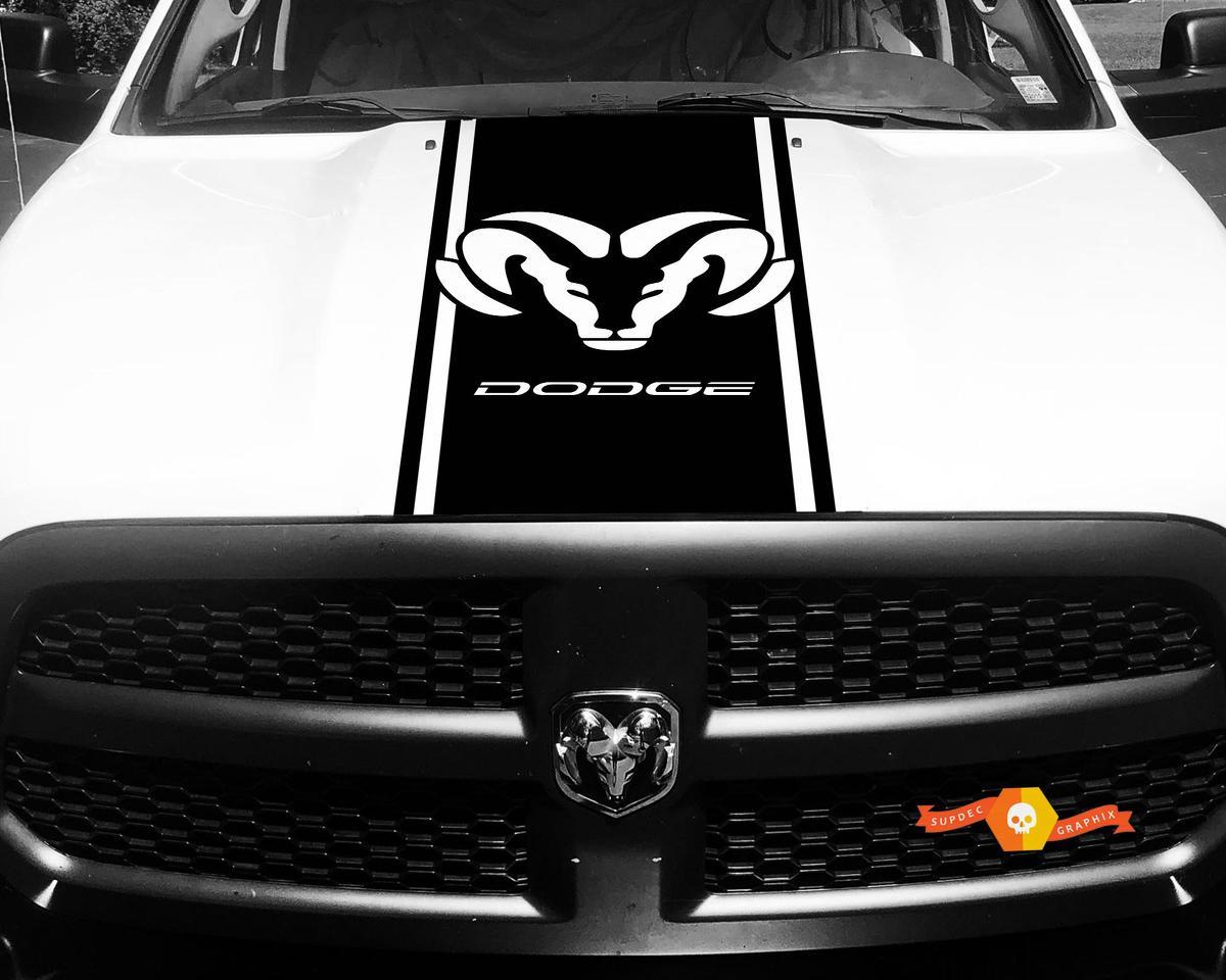 Passend für Dodge Ram 1500 Vinyl Aufkleber HOOD Ram Head Racing HEMI Streifenaufkleber # 29