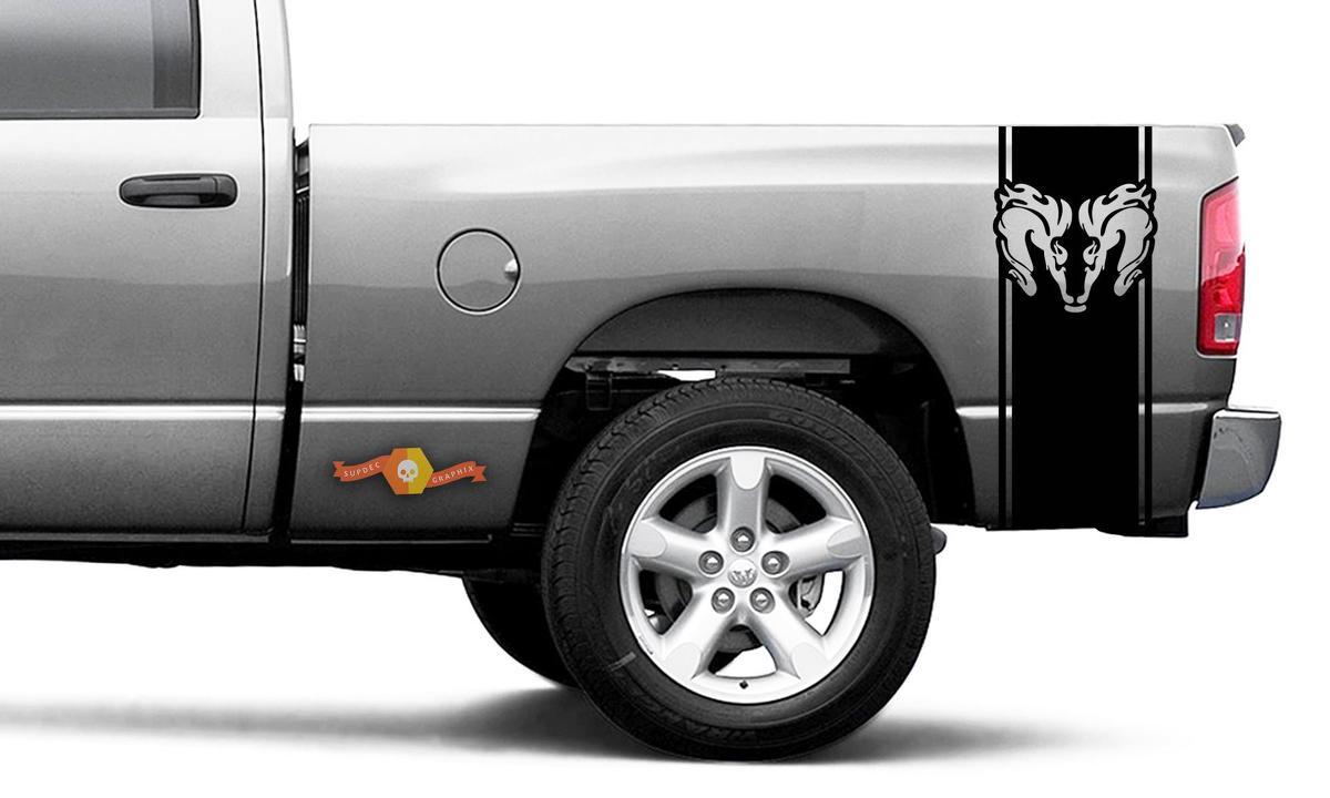 Dodge Ram Vinyl Racing Bett Seitenstreifen RAM Kopf Aufkleber Aufkleber # 51
