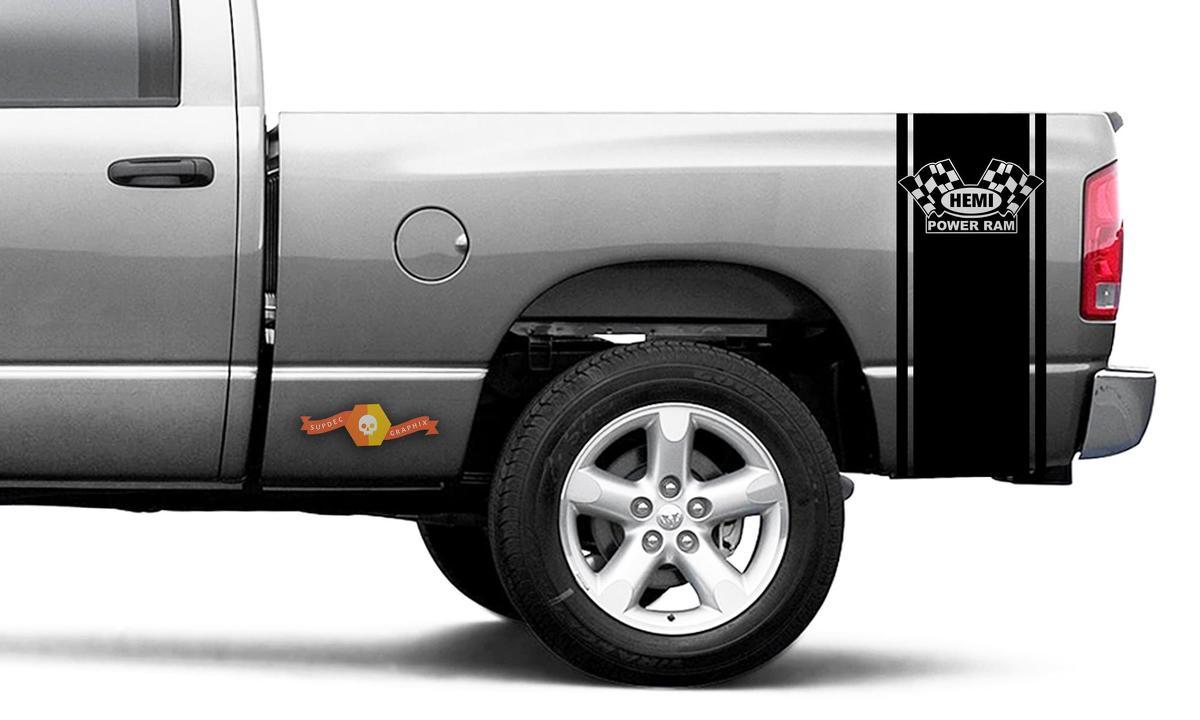 Dodge Ram Vinyl Racing Bett Seitenstreifen RAM Kopf Aufkleber Aufkleber # 57