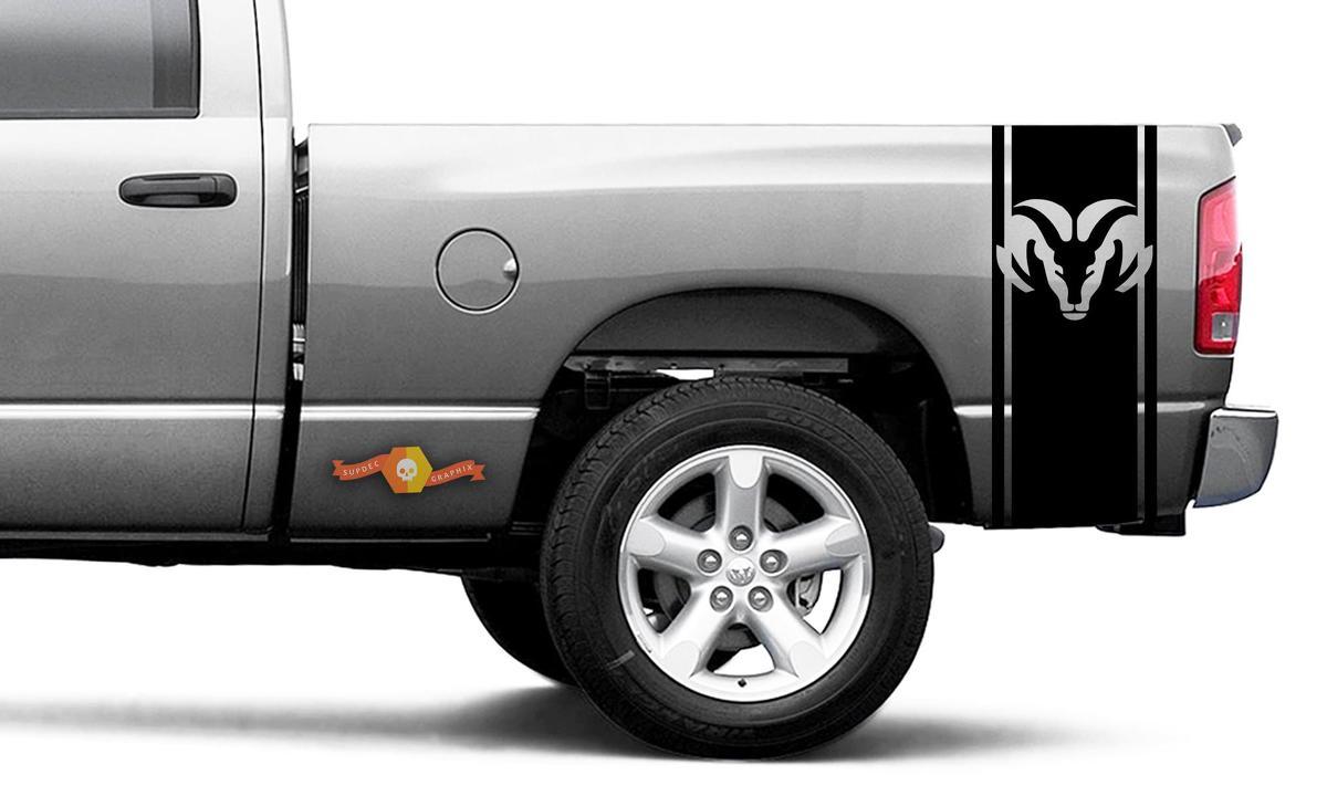 Dodge Ram Vinyl Racing Bett Seitenstreifen RAM Kopf Aufkleber Aufkleber # 58