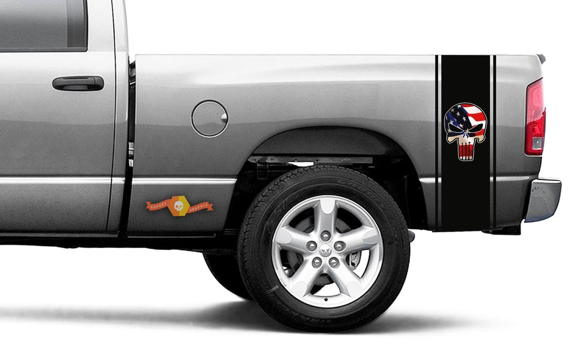 Punisher Printed Decal Black Flag Ram Truck Vinyl Racing Stripe Sticker #105