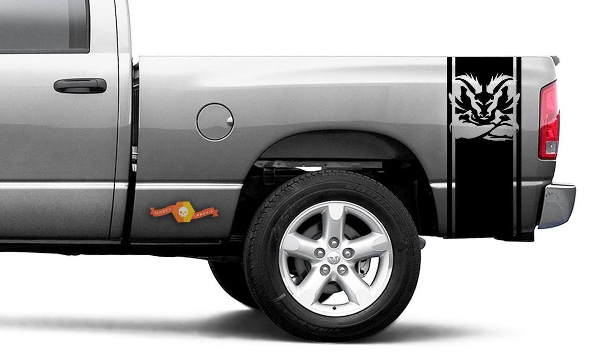 DODGE RAM 1500 2500 VINYL DECAL Streifen-Turbo-Aufkleber mit glattem Kopf # 106