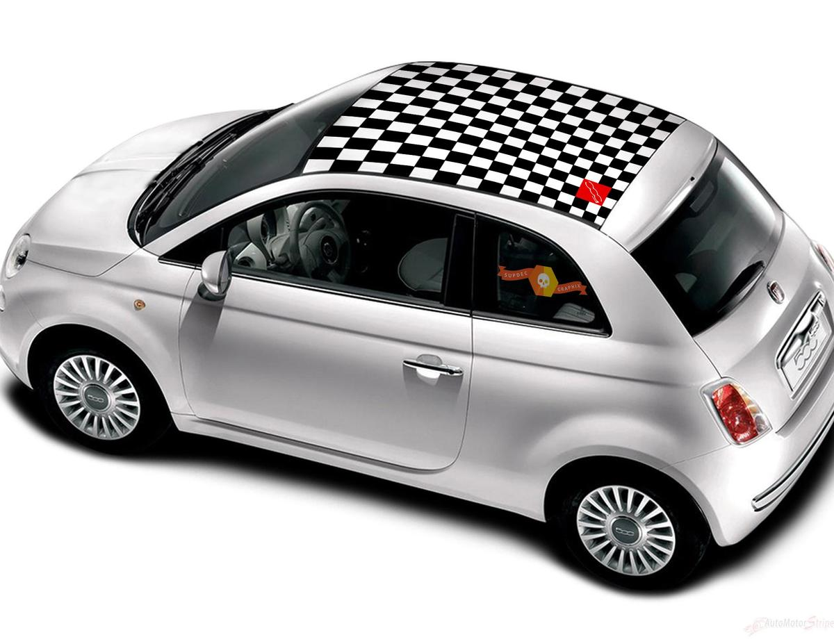 Fiat 500 Vinyl Racing Checkered Flag Roof Stripe Decal Sticker