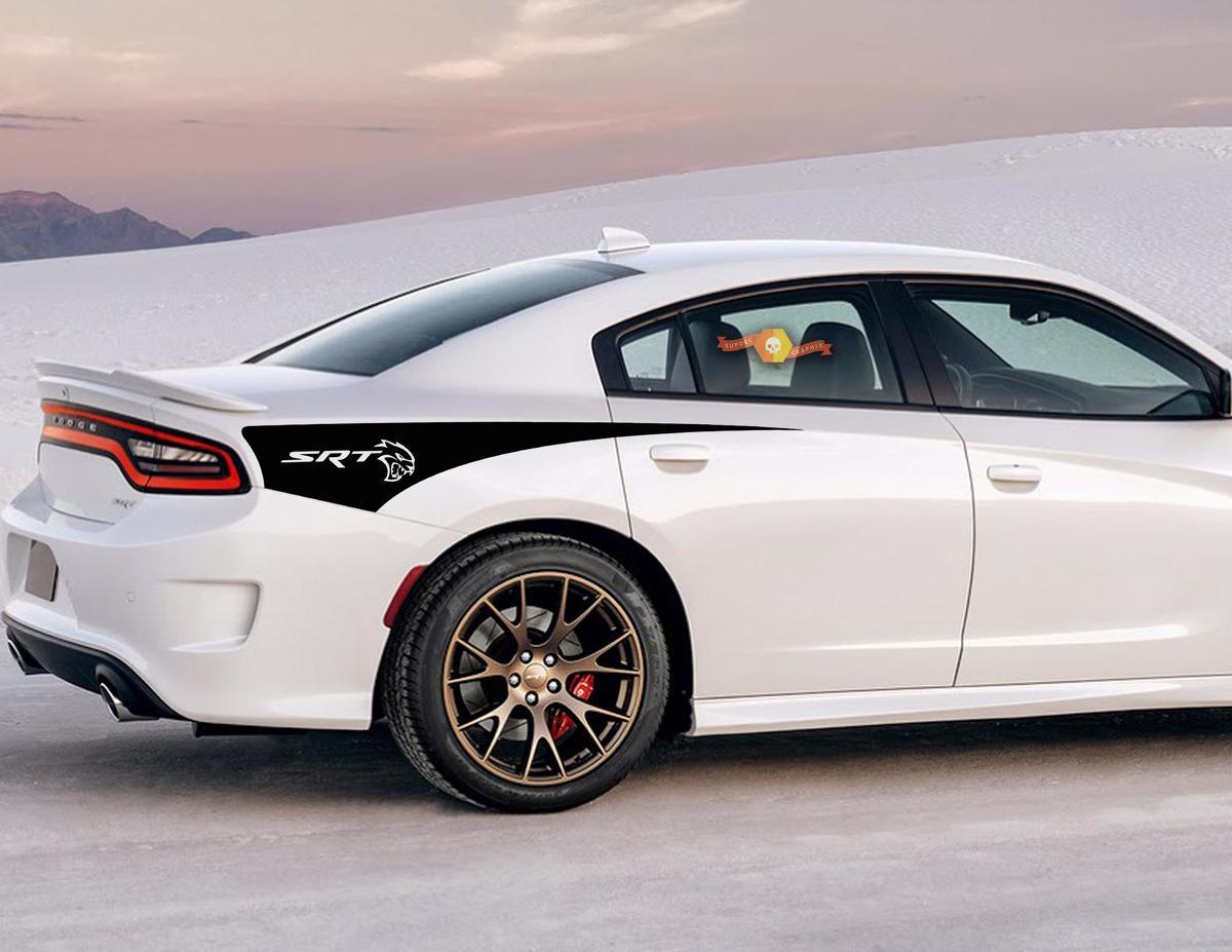 2X Dodge Charger SRT HELLCAT Seitenstreifen-Aufkleber für das hintere Viertel 2011-2020