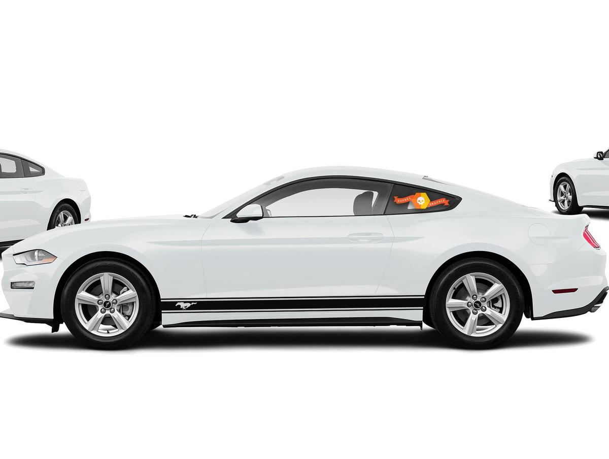 2X Sticker Decal Vinyl Side Door Stripes for Ford Mustang - 2