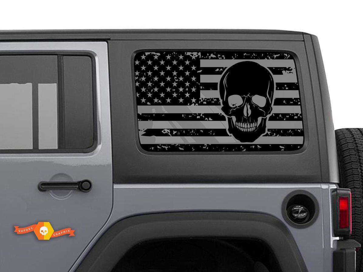 Jeep Wrangler Rubicon Hardtop USA Flagge Schädel Windschutzscheibe Aufkleber JKU JLU 2007-2019 oder Tacoma 4Runner Tundra Subaru Ladegerät Challenger - 19