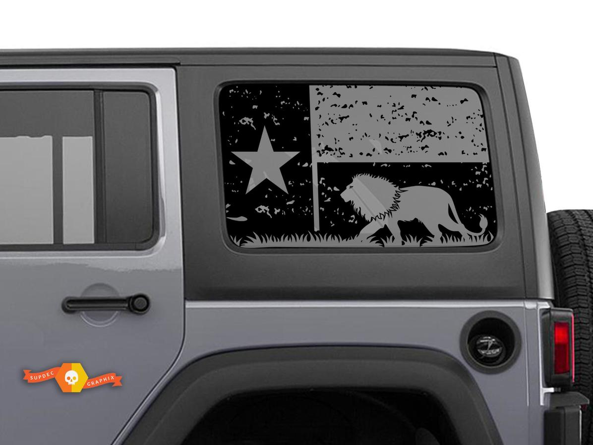Jeep Wrangler Rubicon Hardtop Texas Flag Lion Mountains Destroyed Windshield Decal JKU JLU 2007-2019 or Tacoma 4Runner Tundra Subaru Charger Challenger - 57