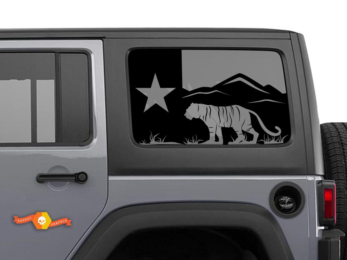 Jeep Wrangler Rubicon Hardtop Texas Flag Forest Tiger Mountains Windshield Decal JKU JLU 2007-2019 or Tacoma 4Runner Tundra Subaru Charger Challenger - 62