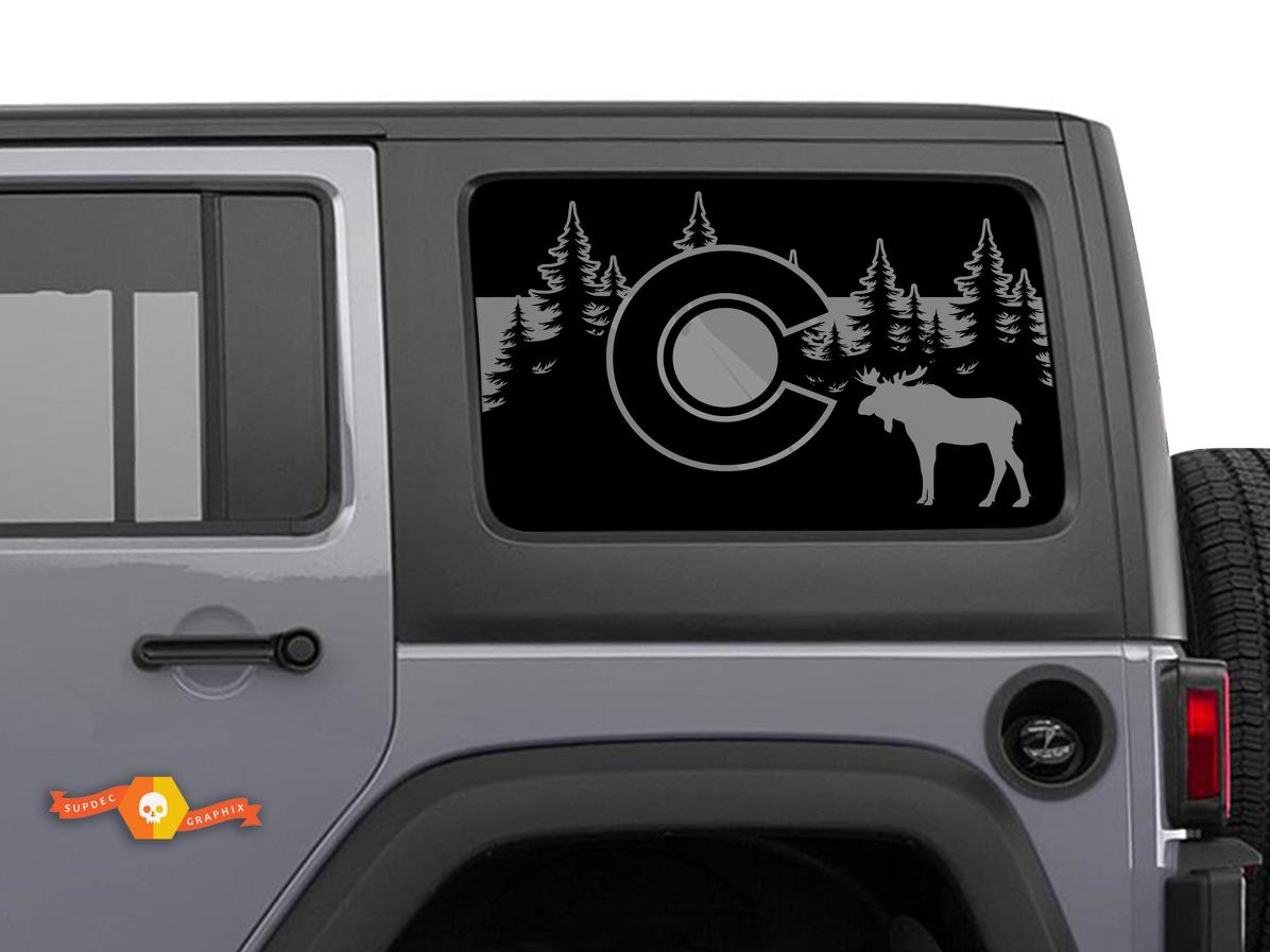 Jeep Wrangler Rubicon Hardtop Colorado Flag Moose Forest Mountains Windshield Decal JKU JLU 2007-2019 or Tacoma 4Runner Tundra Subaru Charger Challenger - 68