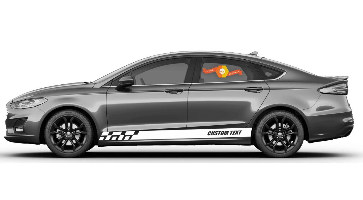 Racing rocker panel stripes vinyl decals stickers for Ford Fusion
