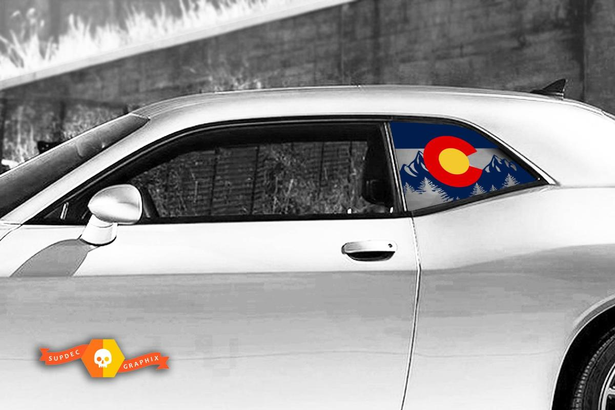 Dodge Challenger Ladegerät Hardtop Colorado Flag Mountains Windschutzscheiben-Aufkleber JKU JLU 2007-2019 oder Tacoma 4Runner Tundra Subaru Wrangler Rubicon - 81