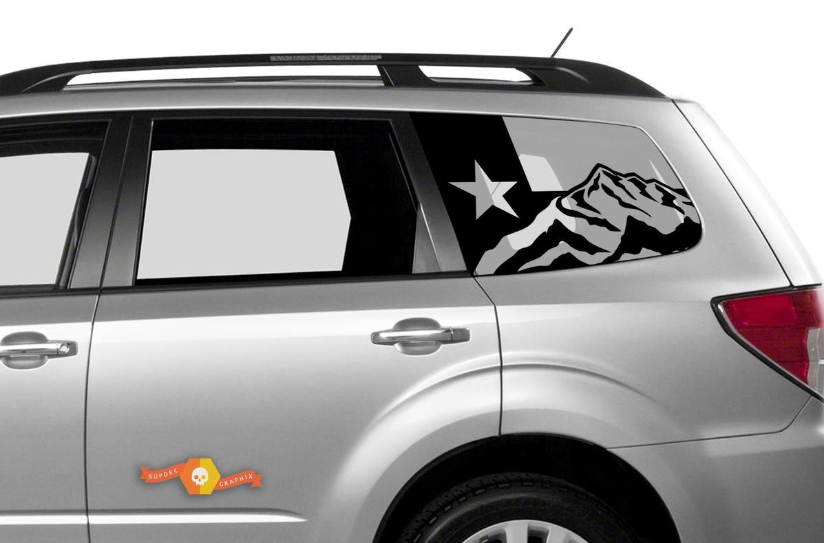 Subaru Ascent Forester Hardtop Texas Flag Mountains Windschutzscheiben-Aufkleber JKU JLU 2007-2019 oder Tacoma 4Runner Tundra Dodge Challenger Ladegerät Wrangler Rubicon - 89