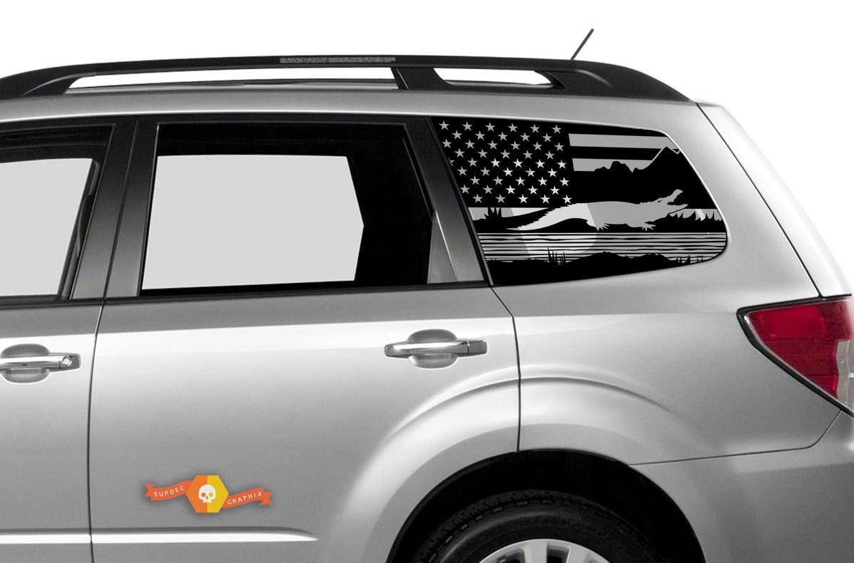 Subaru Ascent Forester Hardtop USA Flag Mountains Forest Swamp Alligator Windshield Decal JKU JLU 2007-2019 or Tacoma 4Runner Tundra Dodge Challenger Charger Wrangler Rubicon - 96