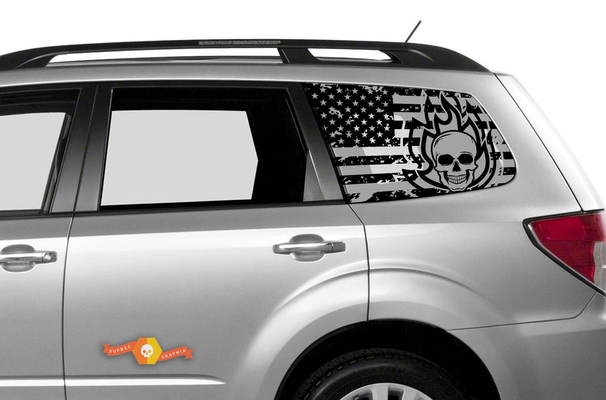 Subaru Ascent Forester Hardtop USA Flag Skull Destroyed Flame Windshield Decal JKU JLU 2007-2019 or Tacoma 4Runner Tundra Dodge Challenger Charger Wrangler Rubicon - 98