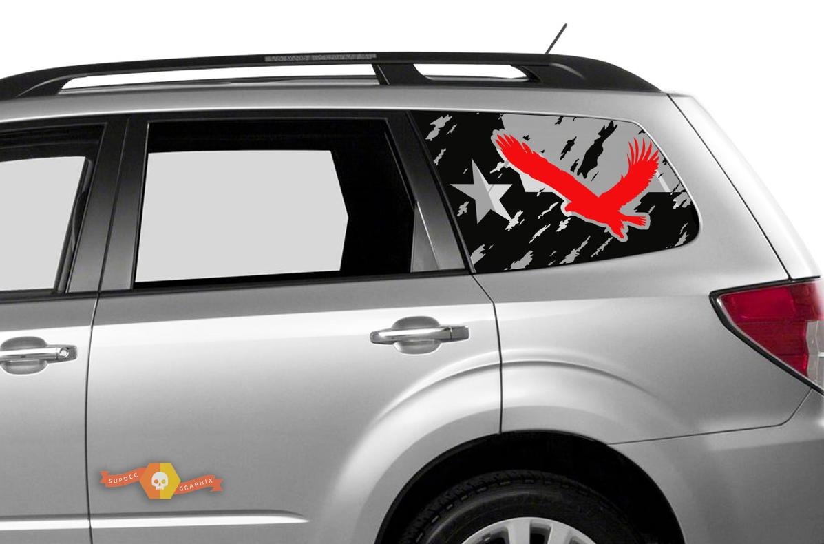 Subaru Ascent Forester Hardtop USA Flag Mountains Texas Flag Eagle Destroyed Windshield Decal JKU JLU 2007-2019 or Tacoma 4Runner Tundra Dodge Challenger Charger Wrangler Rubicon - 105