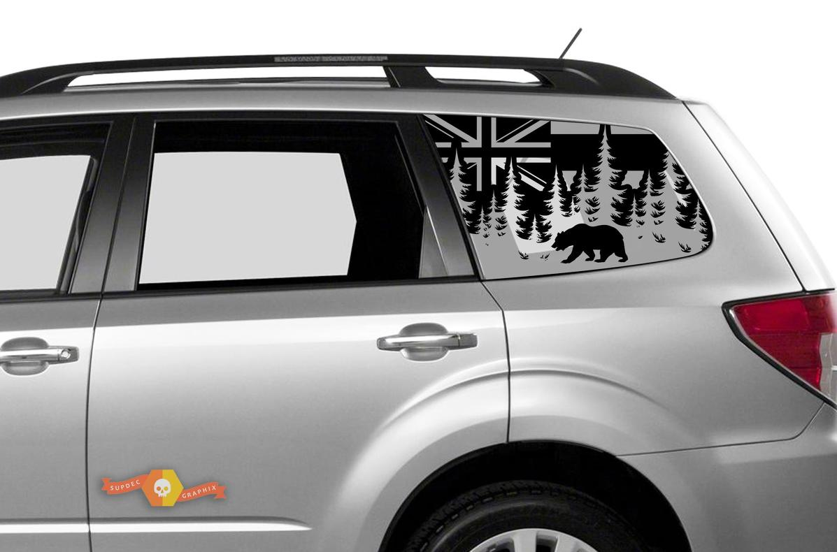 Subaru Ascent Forester Hardtop Flag Hawaii Forest Bear Destroyed Windshield Decal JKU JLU 2007-2019 or Tacoma 4Runner Tundra Dodge Challenger Charger Wrangler Rubicon - 111