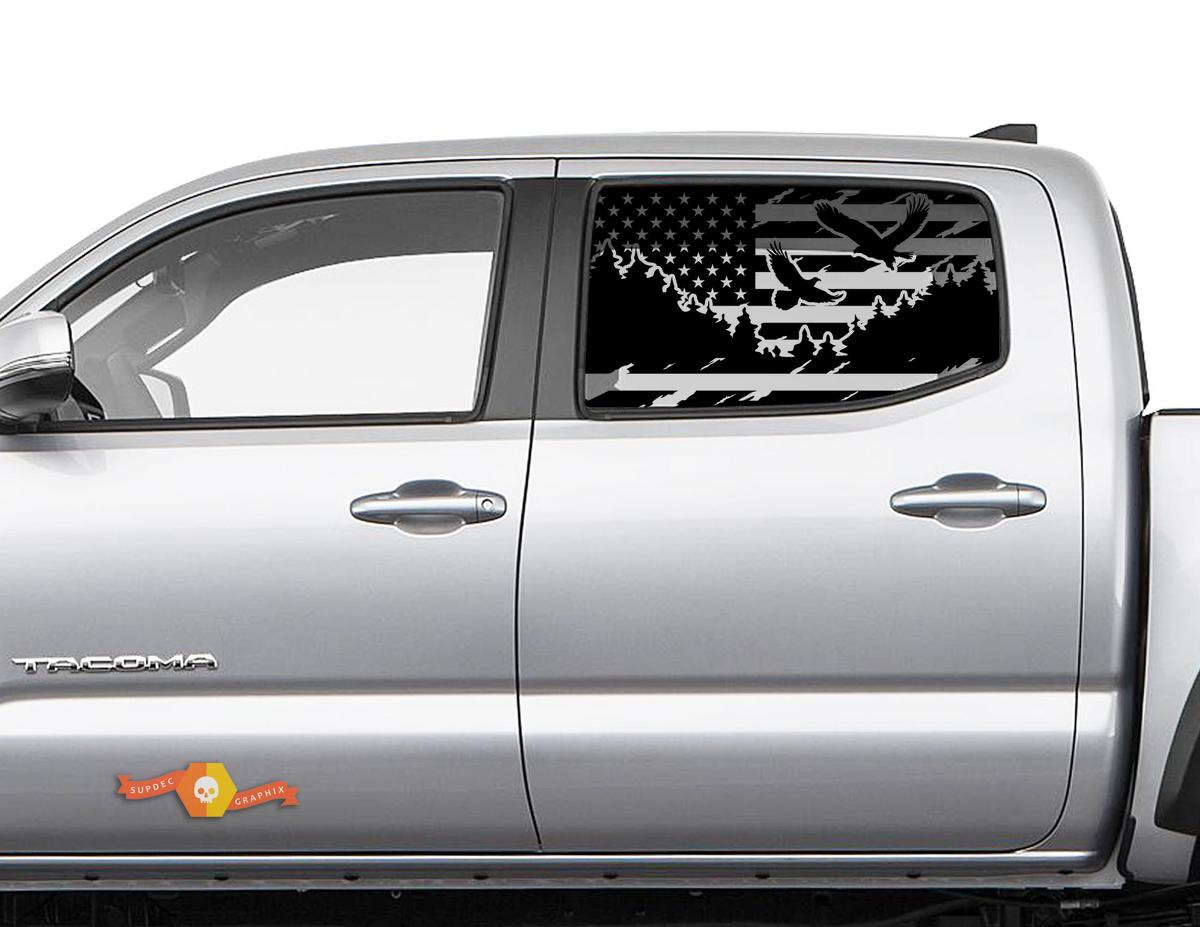 Toyota Tacoma 4Runner Tundra Hardtop USA Flagge Bergadler Windschutzscheibe Aufkleber JKU JLU 2007-2019 oder Dodge Challenger Ladegerät Subaru Ascent Forester Wrangler Rubicon - 120