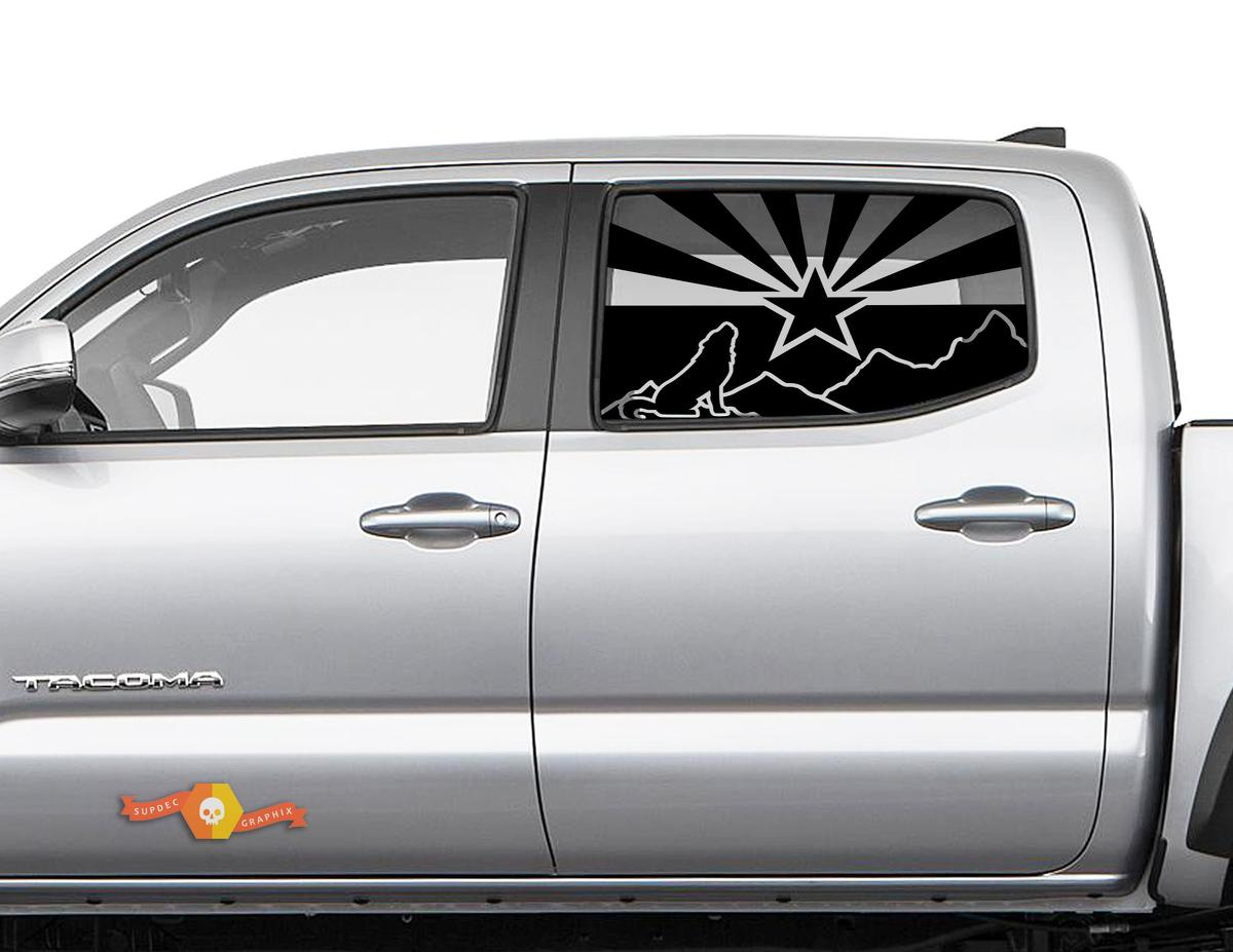 Toyota Tacoma 4Runner Tundra Hardtop Flag Arizona Mountains Wolf Howls Windshield Decal JKU JLU 2007-2019 or Dodge Challenger Charger Subaru Ascent Forester Wrangler Rubicon - 129