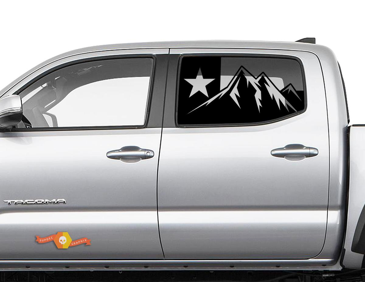 Toyota Tacoma 4Runner Tundra Hardtop Flag Texas Mountains Windshield Decal JKU JLU 2007-2019 or Dodge Challenger Charger Subaru Ascent Forester Wrangler Rubicon - 142