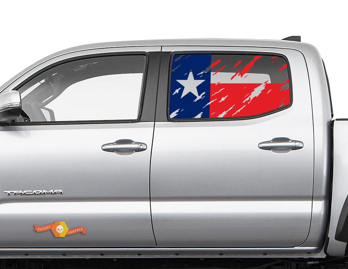 Toyota Tacoma 4Runner Tundra Hardtop Flag Texas Colour Destroyed Windshield Decal JKU JLU 2007-2019 or Dodge Challenger Charger Subaru Ascent Forester Wrangler Rubicon - 146