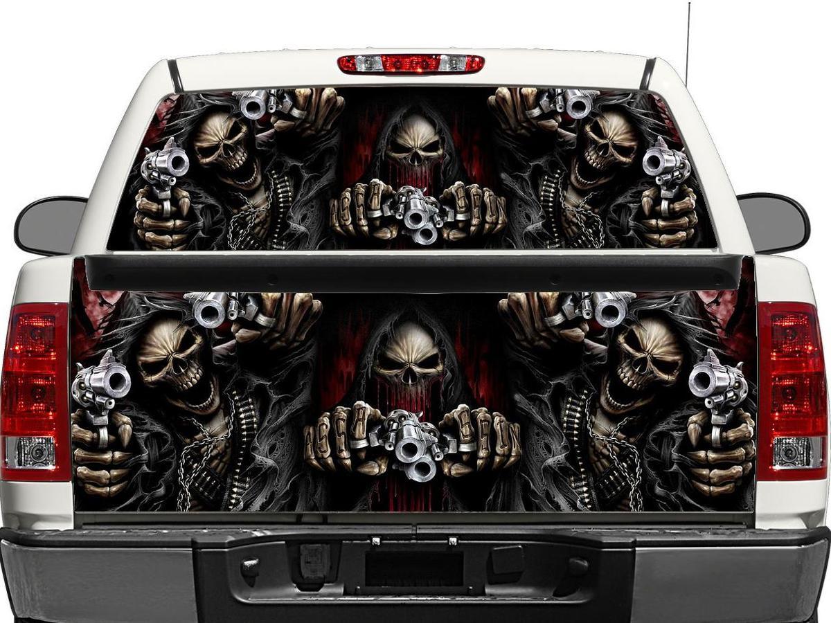 Punisher Skull Blood metal Tailgate Decal Sticker Wrap Pickup Truck SUV