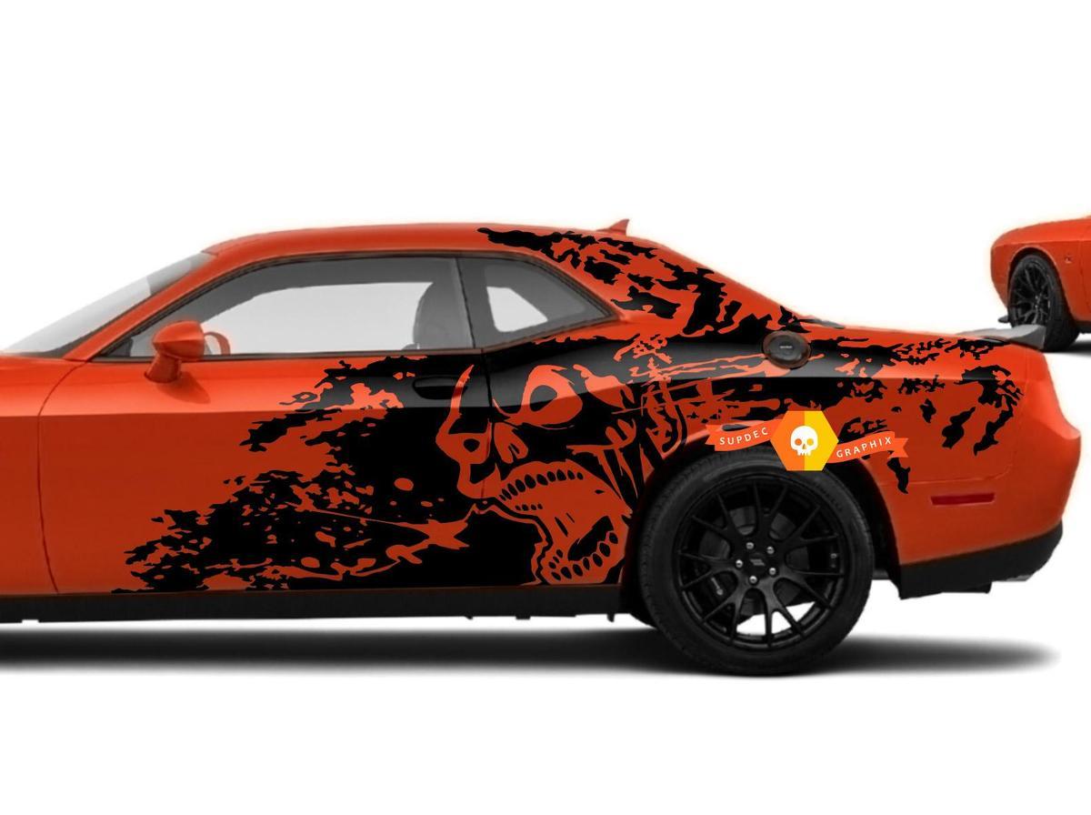 Dodge Challenger Ladegerät Schädel Stil Splash Grunge Streifen Kit Hell Cat Vinyl Aufkleber Grafik